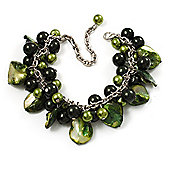 Olive Green Pearl Bead & Shell Charm Bracelet (Silver Tone)