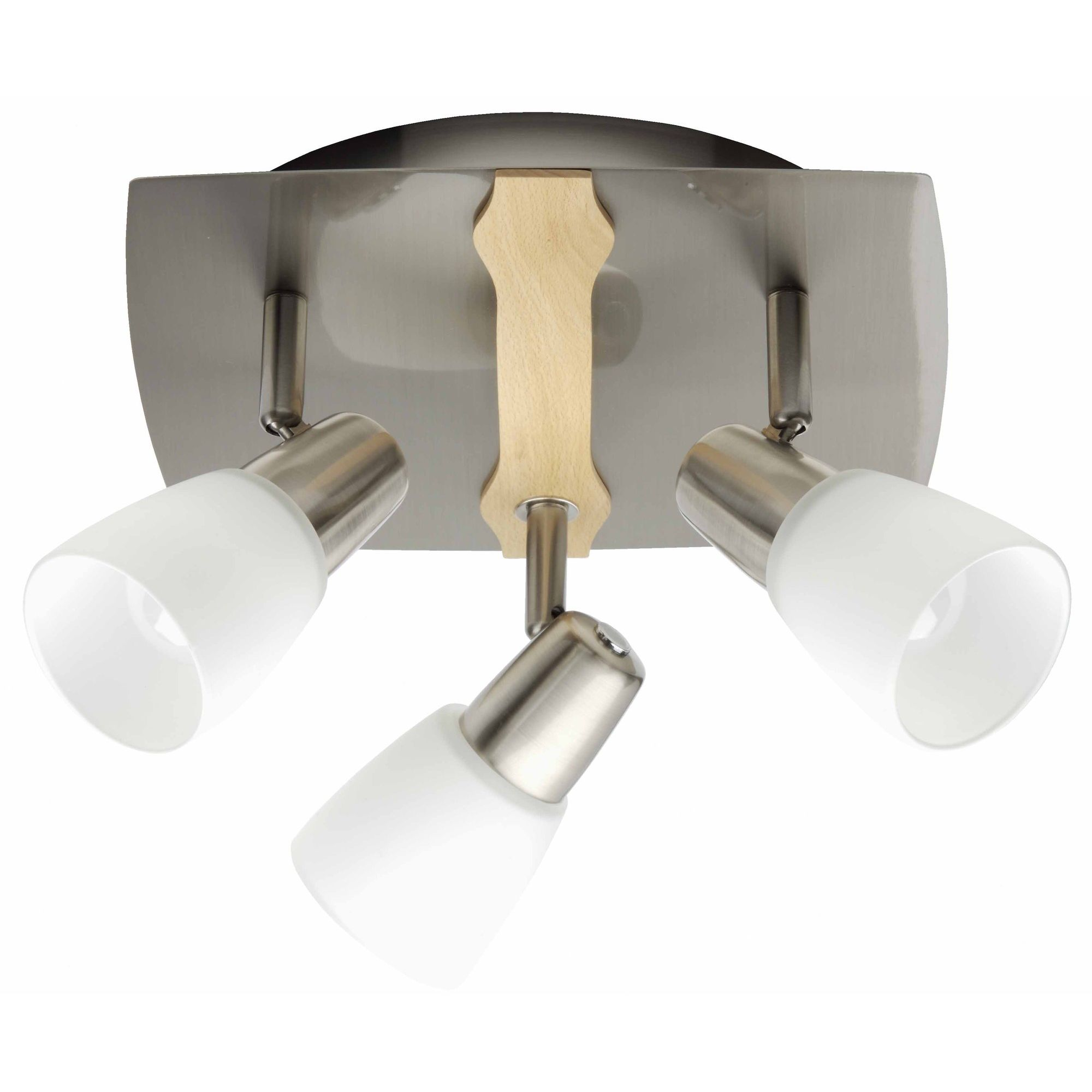 Brilliant Milos Three Light Ceiling Spotlight In Satin Chrome