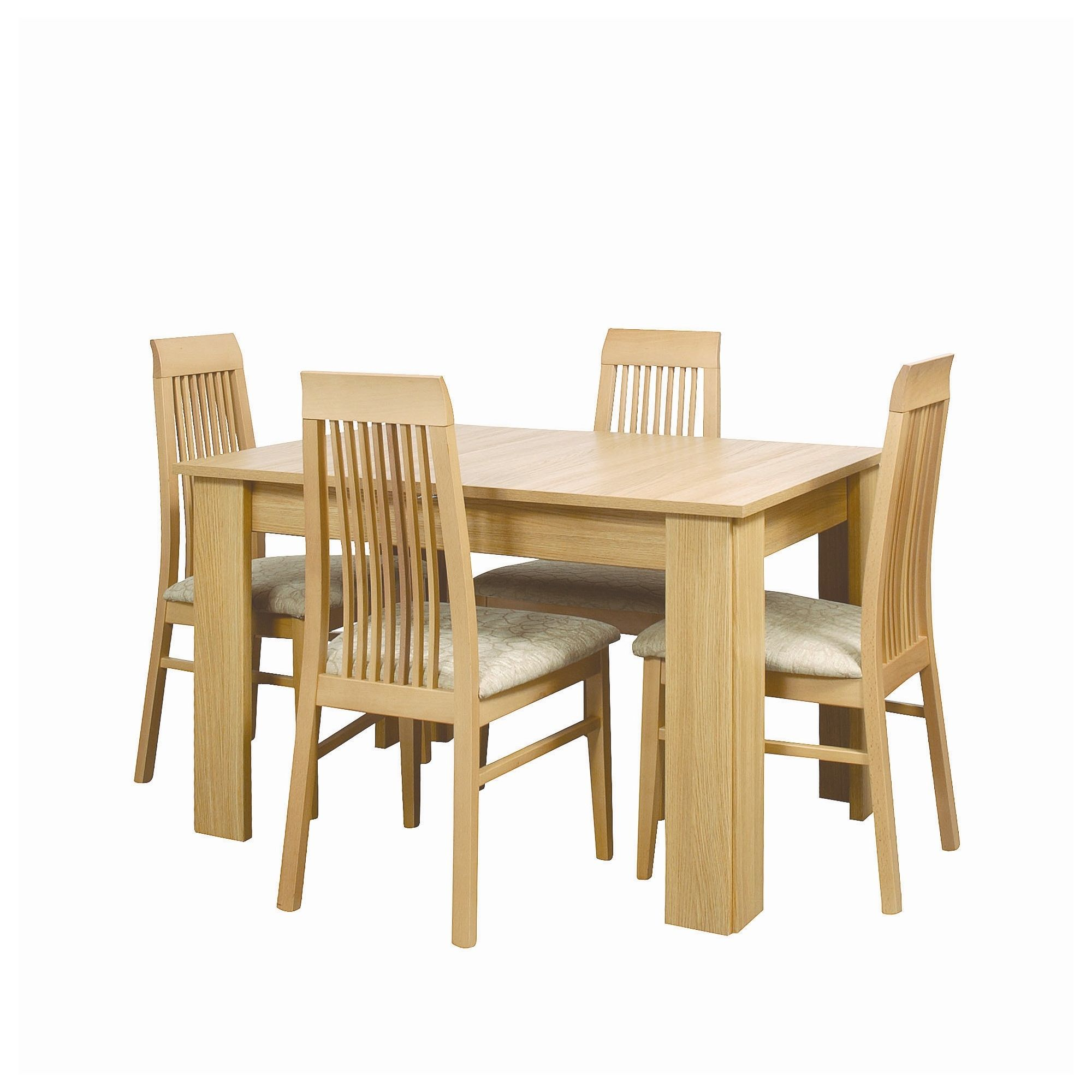 Caxton Huxley Dining Table Set with 4 Slatted Back Chairs in Light Oak at Tesco Direct