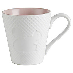 Embossed Squirrel Mug Single Pastel Pink