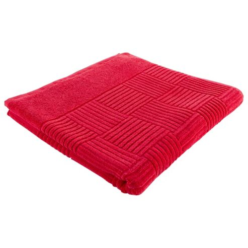 Tesco Red Square Embossed Bath Towel