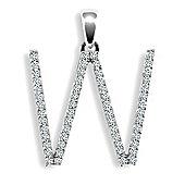 9ct White Gold Diamond Initial Identity Pendant - Letter W