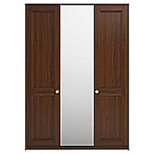 Modular Walnut Triple Wardrobe With Walnut Shaker And Mirror Doors