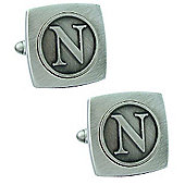 Antiqued Silver Plated Initial - N Cufflink - Single