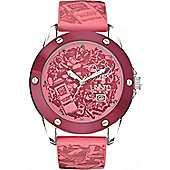 Marc Ecko Ladies Pink Rubber Patterned Strap Watch E09530G5