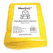 Muslinz Premium High Quality Baby Muslin Squares (Yellow, Pack of 12)