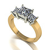 18ct Gold 3 Stone Square Brilliant Moissanite Trilogy Ring
