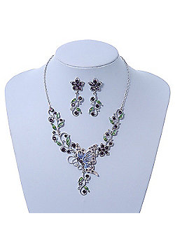 Purple/ Green Swarovski Crystal 'Butterfly' Necklace & Drop Earring Set In Rhodium Plating - 40cm Length/ 6cm Extension