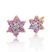 Gemondo 9ct Yellow Gold 0.34ct Pink Sapphire & Diamond Cluster Stud Earrings