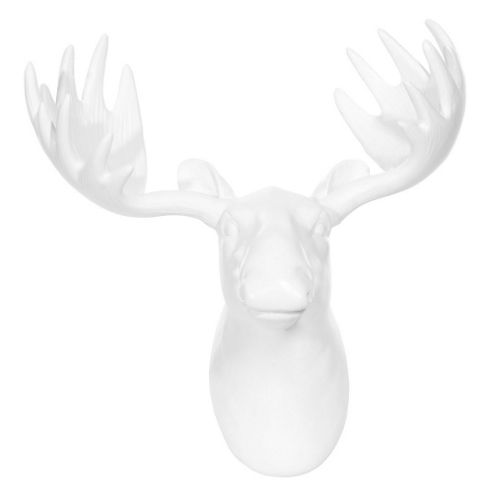 Wall Mountable White Matt Finish Moose Head - 24cm