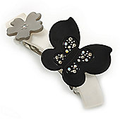 Grey, Black Acrylic Crystal 'Butterfly & Flower' Barrette Hair Clip Grip - 85mm Across
