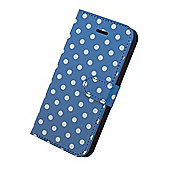 "Tortoiseâ""¢ Faux Leather Folio Case, iPhone 5/5S,Polka Dot design, Blue with White spots."