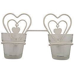 White Metal Heart Double Glass Tealight Holder
