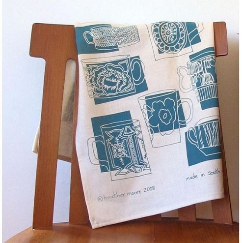 Mugs Blueberry Tea Towel