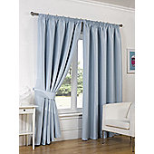 Dreamscene Luxury Faux Silk Blackout Curtains Ready Made Pencil Pleat Lined Free Tiebacks - Duck egg