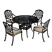 Bentley Garden Cast Aluminium Black 4 Seater Outdoor Dining Set
