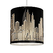 New York Skyline Ceiling Pendant Light Shade in Gloss Black
