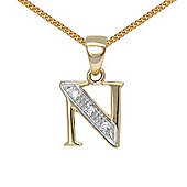 Jewelco London 9 Carat Yellow Gold Elegant Diamond-Set Pendant on an 18 inch Pendant Chain Necklace - Inital N