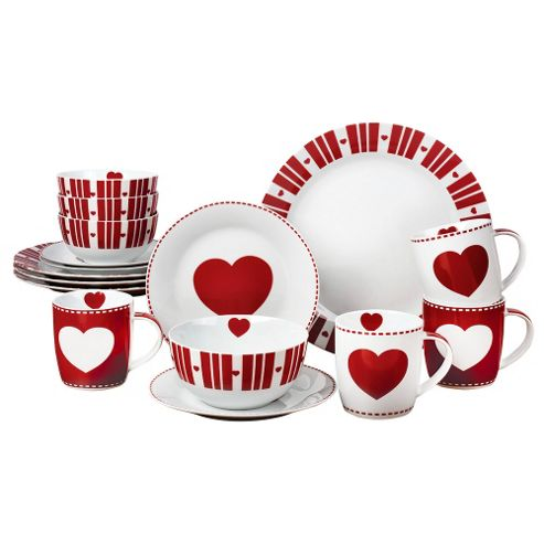 buy 16 piece nordic hearts dinner set from our dinner. Black Bedroom Furniture Sets. Home Design Ideas