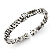 Jewelco London Sterling Silver Beaded Bangle