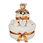 Unisex Giraffe Rattle Baby Nappy Cake Gift (Two Tier)