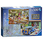 Ravensburger Day with Grandpa and Grandma, 2 x 500 Piece Puzzles