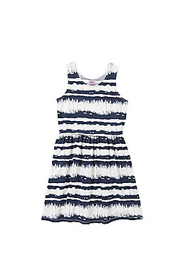 F&F Batik Print Sleeveless Skater Dress - Blue & White