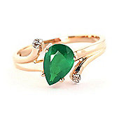 QP Jewellers Diamond & Emerald Flank Ring in 14K Rose Gold