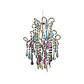 Multi Coloured Glass Ceiling Pendant Shade with Brass Frame