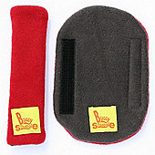 Buggy Snuggle Red Fleece Strap Covers (Charcoal Lined)