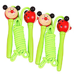 Bigjigs Toys Coloured Skipping Rope (Pack of 2 - Green Handle Ladybird)
