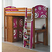 Pine Highsleeper Bed with Funky Pink Design