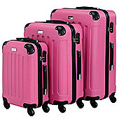 VonHaus 3pc Hard Shell ABS Trolley Suitcase Luggage Set with 4 Rotating Wheels, Combination Lock & Telescopic Handle – Pink