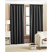 Diamond Woven Blackout Curtains - Black