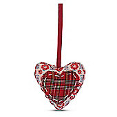 Hanging Tartan Fabric Heart Shaped Christmas Tree Decorations
