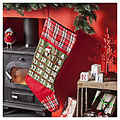 Red Tartan Advent Christmas Stocking