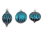 Set of Three Multi-Textural Shaped Blue Glass Bauble Tree Decorations