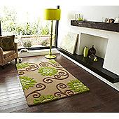 Oriental Carpets & Rugs Rosetta Beige/Green Tufted Rug - 170cm L x 120cm W