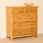 Newlyn Oak 2 over 3 Drawer Chest - Light Oak