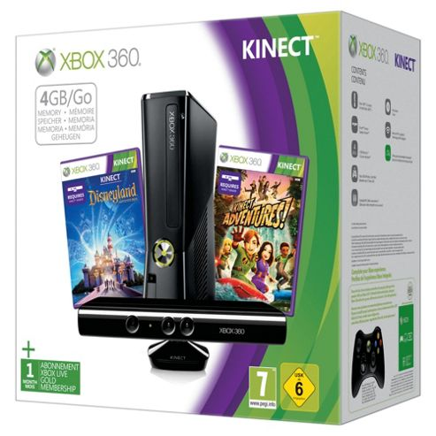 Xbox 360 4GB Console with Kinect Adventures & Disneyland Adventures