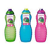 3 Sistema 700ml Twist n Sip Drinks Bottles, Blue, Pink, Green