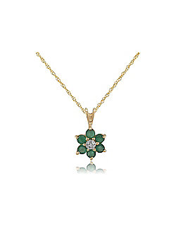 Gemondo Emerald Cluster Pendant, 9ct Yellow Gold 0.44ct Emerald & Diamond Pendant on 45cm Chain