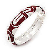 Red/White Geometric Enamel Hinged Bangle Bracelet In Rhodium Plated Metal - 18cm Length