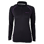 Hiker Womens Long Sleeve Baselayer Zip Top - Black