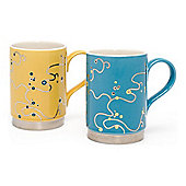 Oriental Berry Mugs, Blue and Yellow.