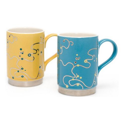 Oriental Berry Mugs, Blue and Yellow