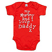 Dirty Fingers My Mummy and I love Daddy Baby Bodysuit - Red