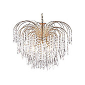 5 Arm Modern Waterfall Chandelier Gold Plated with Crystal Decoration