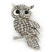 Rhodium Plated Crystal Owl Brooch - 60mm Length
