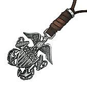 Urban Male Men's Adjustable Brown Leather Necklace American Eagle Design